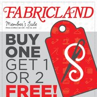 Fabricland - Member's Sale - Buy One Get 1 or 2 Free! Flyer