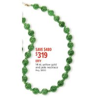 Effy 14 Kt. Yellow Gold And Jade Necklace
