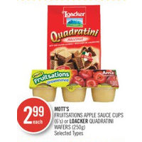 Mott's Fruitsations Apple Sauce Cups Or Loacker Quadratini Wafers
