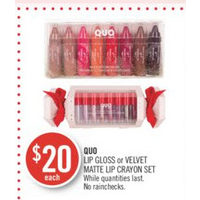 Quo Lip Gloss Or Velvet Matte Lip Crayon Set
