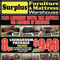 Surplus Furniture - 8-Piece Package Event! Flyer