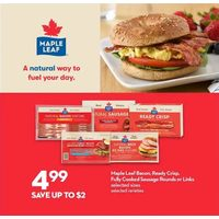Maple Leaf Bacon, Ready crisp, Fully Cooked sausage Rounds or Links