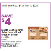 Maple Leaf Natural Selections Sliced Chicken Breast
