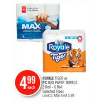 Royale Tiger Or PC Max Paper Towels