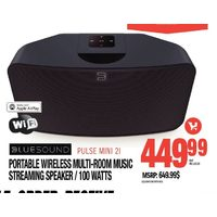 Blue Sound Portable Wireless Multi-Room Music Streaming Speaker/100 Watts