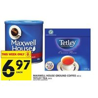 Maxwell House Ground Coffee, Tetley Tea