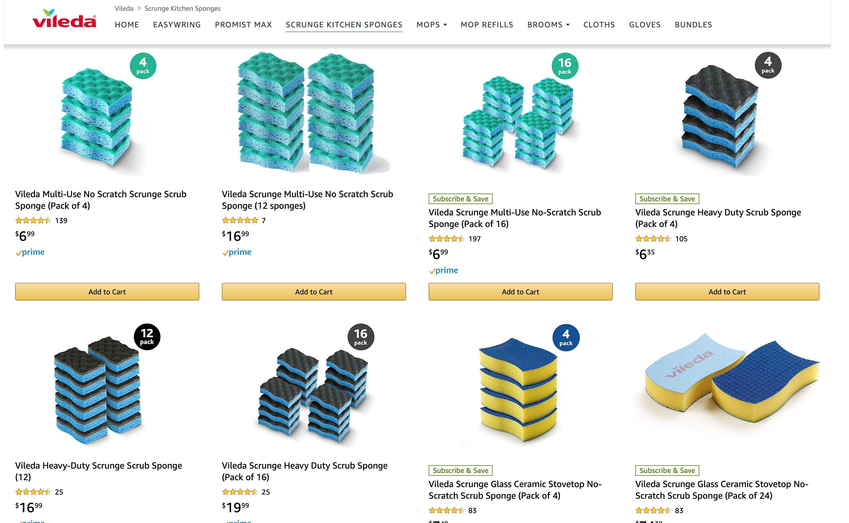 Vileda Scrunge Multi-Use No-Scratch Scrub Sponge (Pack of 16) | $6.99 | YMMV. May be a pricing error.