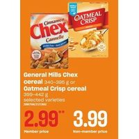 General Mills Chex Cereal Or Oatmeal Crisp Cereal