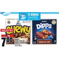 Quaker Chewy, Dips or Harvest Crunch Bars