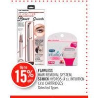 Flawless Hair Removal System, Schick Hydro5, Intuition Cartridges