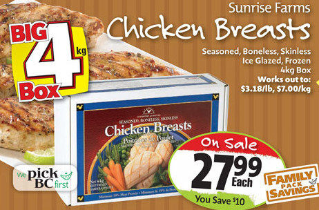 Thrifty Foods Sunrise Farms Chicken Breasts 4kg Box Redflagdeals