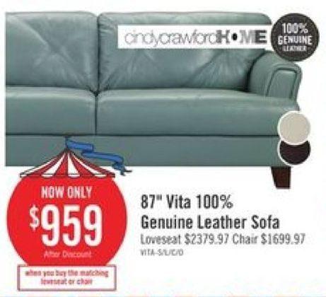 The Brick Cindy Crawford Home 87 Vita 100 Genuine Leather Sofa