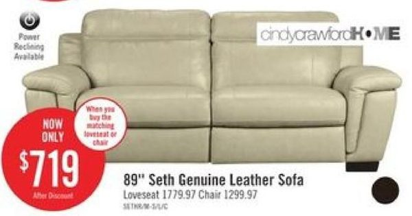 The Brick Cindy Crawford Home Seth Genuine Leather Sofa