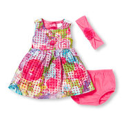 Baby Girls Sleeveless Floral Print Window Pane Dress Headwrap And Bloomers Set - $17.60 ($27.35 Off)