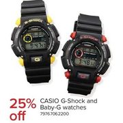 Casio G-Shock and Baby-G Watches - 25% off