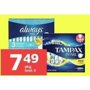 Always Pads, Liners or Tampax Tampons - $7.49