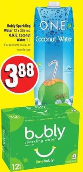 Fresh Co Bubly Sparkling Water One Coconut Water Redflagdealscom