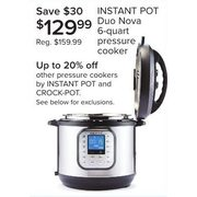 Instant Pot Duo Nova 6-Quart Pressure Cooker - $129.99 ($30.00 off)