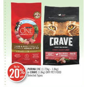 Purina One or Crave Dry Pet Food - Up to 20% off